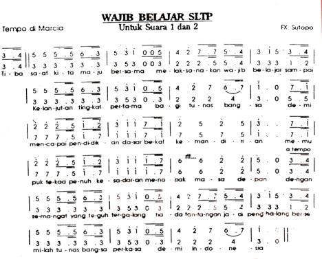 Paduan Suara: Mars Wajib Belajar SLTP (2 Suara)