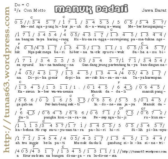 Not Angka Lagu Daerah Manuk Dadali (Jawa Barat) » not-angka-manuk