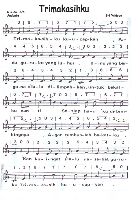 Lagu Trimakasihku (Not Angka, Not Balok, MP3) » trimakasihku