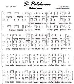 Partitur Paduan Suara lagu daerah Si Patokaan