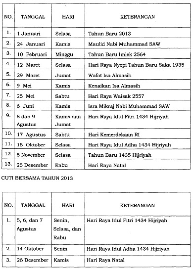 Daftar Hari Libur Dan Cuti Bersama 2013 1 Januari Tahun