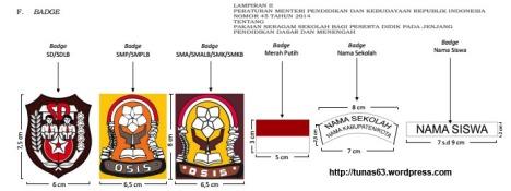 atribud badge dan lokasi seragam sekolah
