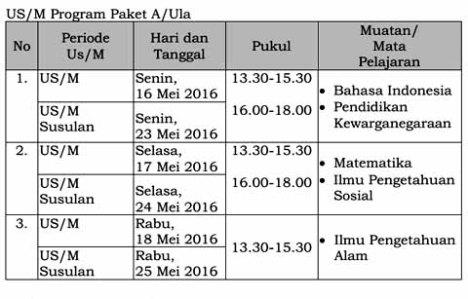 jadwal US-M Paket A th 2015-2016