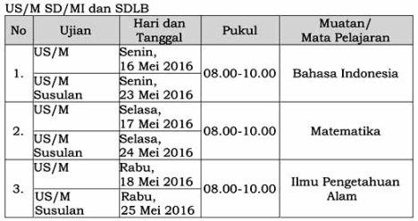 jadwal US-M SD-MI  th 2015-2016